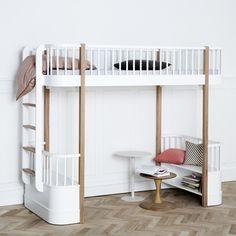 Oliver Furniture Kinder-Hochbett 'Wood' Eiche/weiß 90x200cm - im Fantasyroom Shop online bestellen oder im Ladengeschäft in Lörrach kaufen. Besuchen Sie uns!