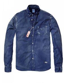 Heavy sun-bleached long-sleeved shirt - Shirts - Official Scotch & Soda Online Fashion & Apparel Shops