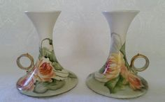 ANTIQUE T&V LIMOGES FRANCE HAND PAINTED FLORAL CANDLEHOLDERS SIGNED FINGER RING  #LIMOGES
