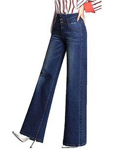 MLM0 Donna Jeans a Zampa di Elefante Svasati Classici Vita Alta Push-Up Blu  Pantaloni b28bfb970e53