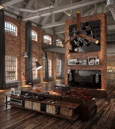 If brick designs had a haven, this loft apartment would be just about what it looks like. www.homemagez.com
