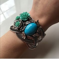 Floral turquoise bangle cuff Beautiful Floral and turquoise bangle cuff Jewelry Bracelets