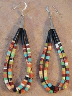 Delfinita Calabaza Kewa Rolled Turquoise Jet  Agate Earrings $57.00