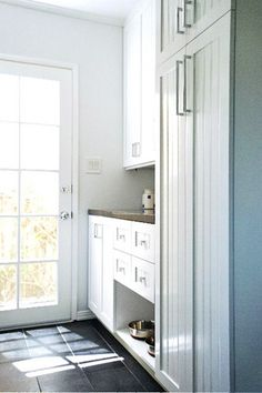 kitchen: pet food area (put on a pull out tray with food storage bin behind) Food Storage Cabinet, Pet Food Storage, Small Kitchen Storage, Laundry Storage, Storage Bins, Storage Ideas, Smart Storage, Storage Room, Storage Solutions