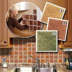 Peel n\' Place do-it-yourself backsplash tiles. Decorative peel n\'