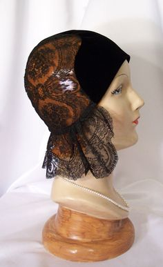 Vintage ART DECO Black Chantilly Lace Ruffle & Velvet Flapper Cloche Hat 20s FREE Shipping. $349.99, via Etsy.