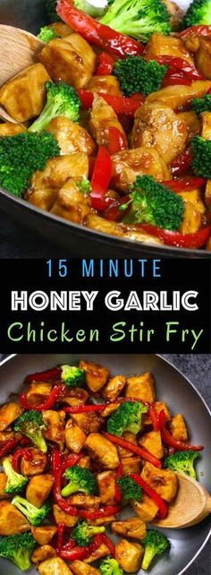 The easiest, most unbelievably delicious Honey Garlic Chicken. And it'll be on your dinner table in just 15 minutes. Succulent chicken cooked in honey, garlic and soy sauce mix, seared in frying pan with vegetables. Ready in 15 minutes! Quick and easy dinner recipe. | Tipbuzz.com Easy Honey Garlic Chicken, Easy Chicken Stir Fry, Easy Stir Fry Sauce, Best Stir Fry Recipe, Quick Stir Fry, Stir Fry Chicken Breast, Paleo Stir Fry, Chicken Vegetable Stir Fry, Chicken Stir Fry With Noodles