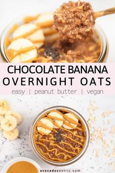 This vegan chocolate banana overnight oats recipe is easy, healthy, gluten free, and also a perfect breakfast! In addition, it's naturally sweetened, peanut butter flavored, and made in a jar! Adding mashed banana makes these overnight oats so creamy and delicious! The best part is that you can customize it and make it as sweet as you like. I will show you how to make it step by step! This is a perfect vegan breakfast to enjoy in the summer! #overnight oats #vegan #healthy #vegan breakfast… Vegan Breakfast Casserole, Vegan Gluten Free Breakfast, Healthy Breakfast Options, Delicious Vegan Recipes, Healthy Breakfast Recipes, Vegetarian Breakfast, Brunch Recipes, Healthy Snacks, Healthy Eating