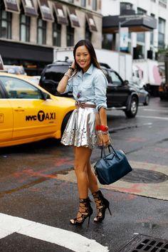 metallic laser cut skirt