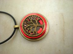 Tree of Life Men's Necklace Red
