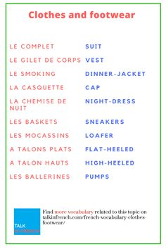 Whether or not you are a fashionista, update your French vocabulary for clothes and Footwear. It will help you a lot when you will in Paris for shopping. + download the list in PDF format for free! Get it here: https://www.talkinfrench.com/french-vocabulary-clothes-footwear/