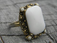 Vintage Milk Glass Cocktail Ring by Gener8tionsCre8tions on Etsy