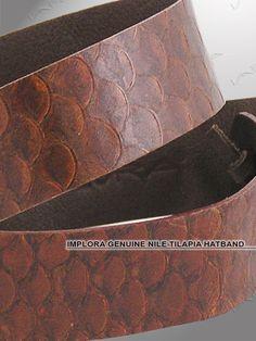 19a52f8f374 Implora Brown Nile Tilapia Fish Skin Hatband 1W. Leather Skin ...