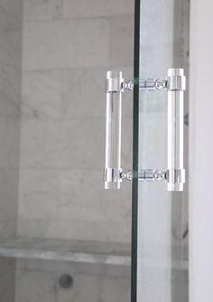 Lucite Shower Door Pull Handles (PAIR) - Brass, Satin Brass, Polished Nickel…