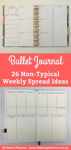 Bullet Journal Layouts: 26 Non-typical 2 page weekly spreads to try - All About Planners