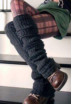 Leg warmers, and plaid pantie hose