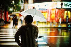Man in the October rain