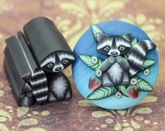 Koala Kit -Set of 10 Polymer Clay Canes -Medium difficulty level (example project shown, not included) Polymer Clay Animals, Polymer Clay Canes, Polymer Clay Flowers, Polymer Clay Jewelry, Clay Projects, Clay Crafts, Nebraska, Fund Raiser, Etsy