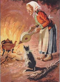 Befana and her cat Old Postcards, Halloween Cards, Four Seasons, Christmas Time, Horror, Painting, Image, Witches, Celebration