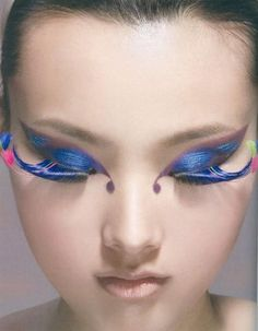 DIY Halloween Makeup : Blue Butterfuly Makeup with Long Lashes