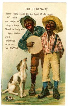 Valentines Day-THE SERENADE-Marcus Greiner Postcard Black Americana