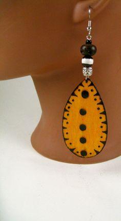 Gamboge Wood burned Earrings by JEHAANS on Etsy