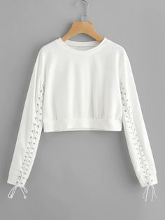 Shop Grommet Lace Up Sleeve Crop Sweatshirt online. SheIn offers Grommet Lace Up Sleeve Crop Sweatshirt & more to fit your fashionable needs. Girls Fashion Clothes, Teen Fashion Outfits, Mode Outfits, Outfits For Teens, Girl Fashion, Girl Outfits, Fashion 2018, Fashion Dresses, Crop Top Outfits