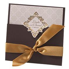 """Einladung zur Hochzeit """"Maida"""" in braun mit grprägten Ornamenten"""