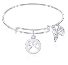 Pawprint Charm Bangle Bracelet With Angel Wings Gift Boxed - Cut Out Paw
