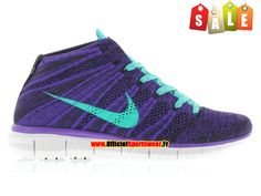 Nike Free Flyknit Chukka - Chaussures Nike Running Pour Homme Court Purple/Hyper Jade-Black-White 639699-500