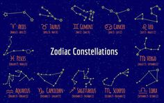 Set of zodiac signs and constellations. Vector collection of blue backgrounds…