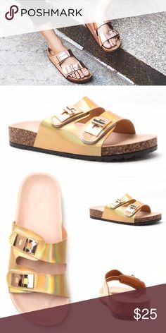 LAST 1✨ holographic slider sandals gold tan trend 1 pair of sandals. Small damage on the side - honestly you can't see it while being worn. (See additional pics of damage). Price reflects damage. True to size - brand new with slight defect. WILA Shoes Sandals