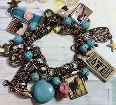Western DIVA,  altered art charm bracelet, handmade  trending  jewelry  , OOAK, horses, cowgirl , pink skull by Bostoncharm on Etsy