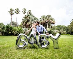 "Our Baby Announcement Photo Shoot! Large Silver Mylar Balloons BABY Balloons 40"" Balloons Baby Announcement Baby Photos Pregnant Pregnancy Photos Pregnancy Announcement"