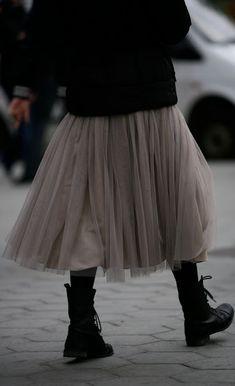 Grey tulle skirt, black sweater & black boots = fabulous!