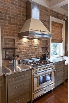 exposed brick / no upper cabinets