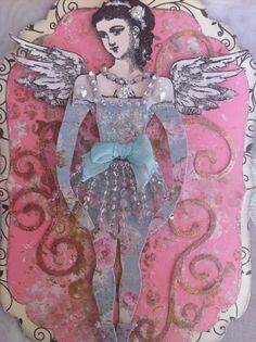 Paper Doll Tag Art Doll Articulated Mixed Media by ParisPluie, $15.00