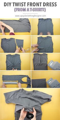 Easy sewing instructions for how to make a DIY twist front dress from t-shirt. The step-by-step tutorial shows how to transform a t-shirt into a twist front dress. Tie Shirt Knot, T Shirt Diy, T Shirt Refashion, Refashioned Tshirt, Diy Clothing, Sewing Clothes, T Shirt Reconstruction, Shirt Alterations, Dress Tutorials