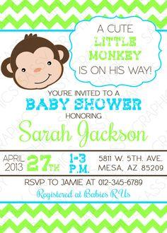 Boys Baby Shower Invitation  Monkey Chevron Blue Green by Sassygfx, $13.00