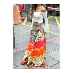 Rotita Low Waist Tribal Print Maxi Skirt ($20) ❤ liked on Polyvore featuring skirts, multi color, beach maxi skirt, long skirts, tribal maxi skirt, bohemian skirt and maxi skirt