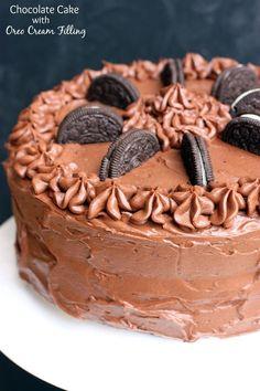 Chocolate cake oreo cream filling
