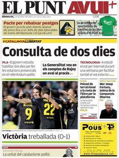 Los Titulares y Portadas de Noticias Destacadas Españolas del 2 de Octubre de 2013 del Diario El Punt Avui ¿Que le pareció esta Portada de este Diario Español?