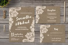 Burlap and Lace Wedding Invitations by Incredible Wedding on @creativemarket