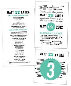 Love Vs Design Wedding Invitations - love the arrows & the teal!