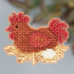 Mill Hill Chicken or the Egg - Beaded Cross Stitch Kit Butterfly Cross Stitch, Beaded Cross Stitch, Cross Stitch Samplers, Counted Cross Stitch Patterns, Cross Stitching, Cross Stitch Embroidery, Embroidery Patterns, Chicken Cross Stitch, Mill Hill Beads