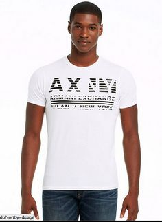 camiseta armani exchange branca STRIKETHROUGH LOGO TEE
