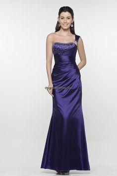 Cheap dark purple column floor-length one shoulder prom dress Z12146