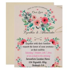 Floral Garden Wedding Invitation - love cards couple card ideas diy cyo