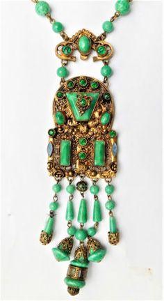 NO-RESERVE-c1930-Art-Deco-Czech-Glass-Necklace-amp-Earrings-Vintage-Neiger Art Deco Necklace, Art Deco Jewelry, Glass Necklace, Glass Jewelry, Glass Beads, Jewelry Design, Designer Jewelry, Antique Jewelry, Vintage Jewelry