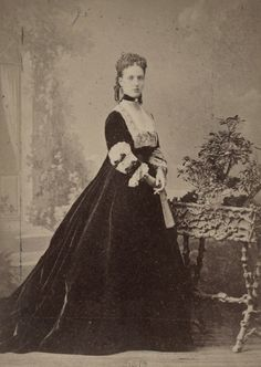 Princess Alexandra of Wales in a gorgeous velvet gown. Early 1870s